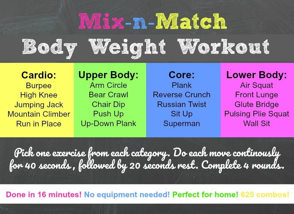 Mix And Match Home Body Weight Workout