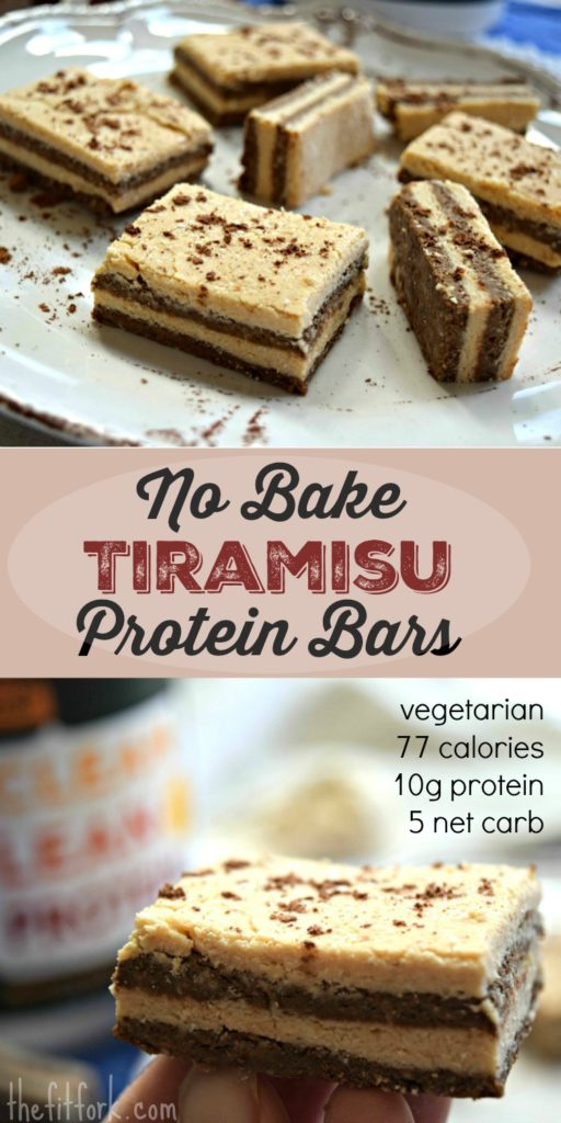 No Bake Tiramisu Protein Bars offer 10 grams of vegetarian protein for only 77 calories.