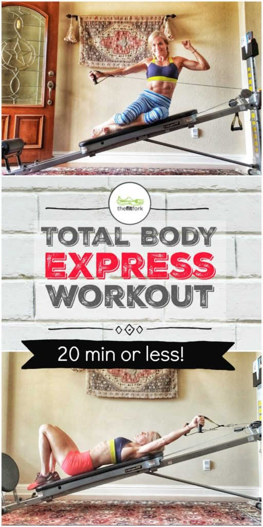 This Total Body Express Workout takes 20 minutes or less and exercises target most every muscle group for a quick, comprehensive workout. Used the Total Gym from www.totalgymdirect.com , a great piece of home gym equipment that can uses body weight and angle of incline to create adjustable resistance suitable for all ability types. #ad #totalgym